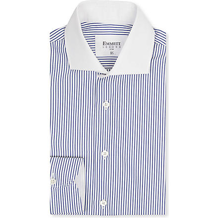 EMMETT LONDON Contrast collar striped shirt (Blue