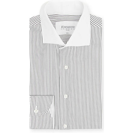 EMMETT LONDON Striped contrast collar shirt (Black