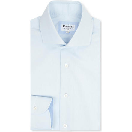 EMMETT LONDON Spread collar cotton shirt (Blue
