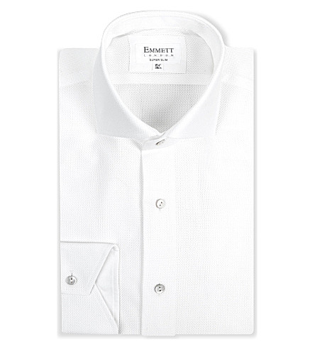 EMMETT LONDON Super-slim single-cuff shirt (White
