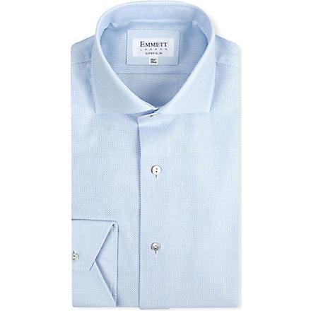 EMMETT LONDON Super-slim single-cuff shirt (Blue