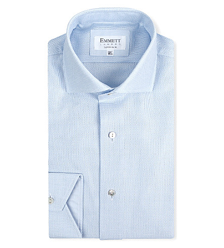 EMMETT LONDON Super-slim single-cuff shirt (Blue