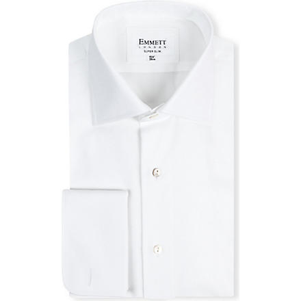 EMMETT LONDON Milano super slim-fit double-cuff shirt (White