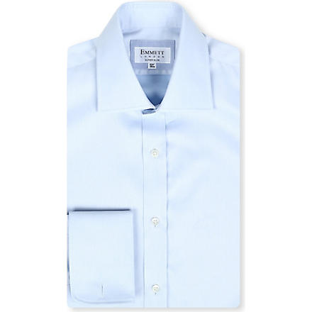 EMMETT LONDON Paris spread-collar cotton shirt (Blue