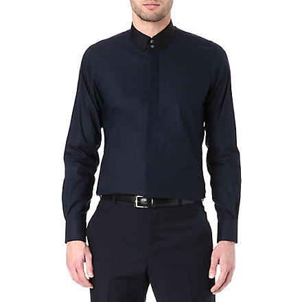 EMMETT LONDON Paris tab-collar super slim-fit shirt (Navy/ black