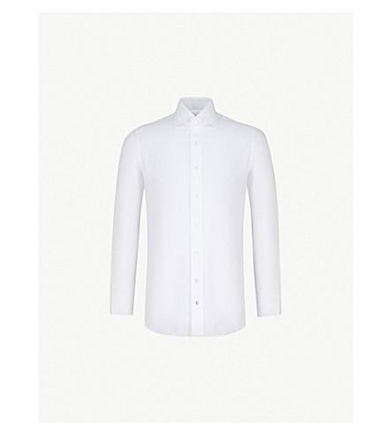 EMMETT LONDON 140s Slim-fit cotton-twill shirt (White+panama