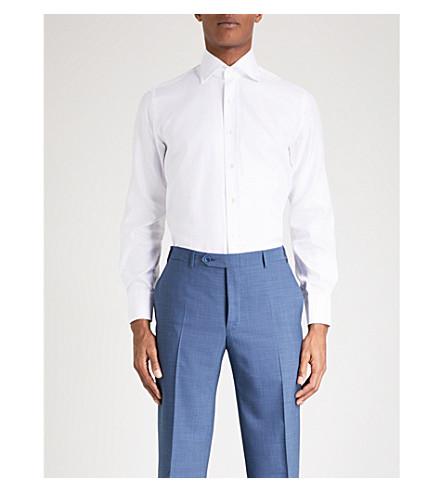 EMMETT LONDON 140s 修身版型棉质斜纹布衬衫 (白色 + 巴拿马