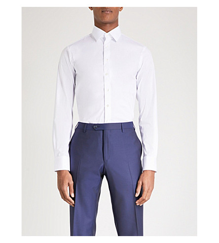 SMYTH & GIBSON Tailored-fit single-cuff shirt (White