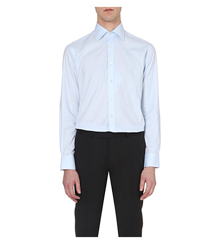 SMYTH & GIBSON Tailored-fit single-cuff shirt (Blue