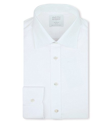 SMYTH & GIBSON Tailored-fit cotton-poplin shirt (White