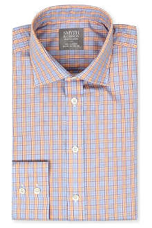 SMYTH & GIBSON Checked spread-collar single-cuffs shirt