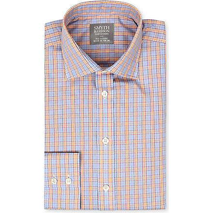 SMYTH & GIBSON Checked spread-collar single-cuffs shirt (Orange