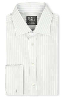 SMYTH & GIBSON Striped French-cuff spread-collar shirt
