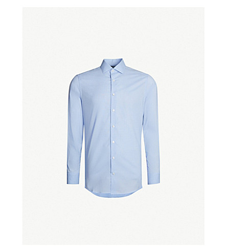SMYTH & GIBSON Checked tailored-fit cotton shirt (Blue