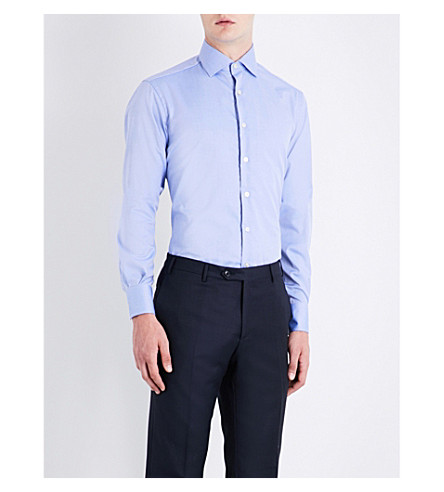 SMYTH & GIBSON Herringbone cotton shirt (Mid blue