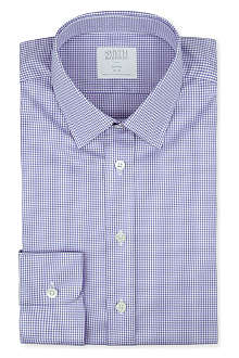 SMYTH & GIBSON Gingham-print tailored-fit single-cuff shirt