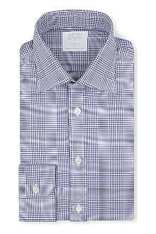 SMYTH & GIBSON Prince of Wales check tailored-fit single-cuff shirt