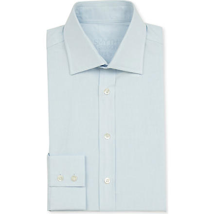 SMYTH & GIBSON Plain single–cuff shirt (Sky
