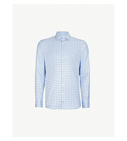 SMYTH & GIBSON Checked slim-fit cotton shirt (Sky+blue