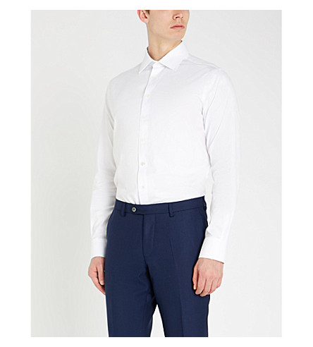 SMYTH & GIBSON Slim-fit cotton-twill shirt (White