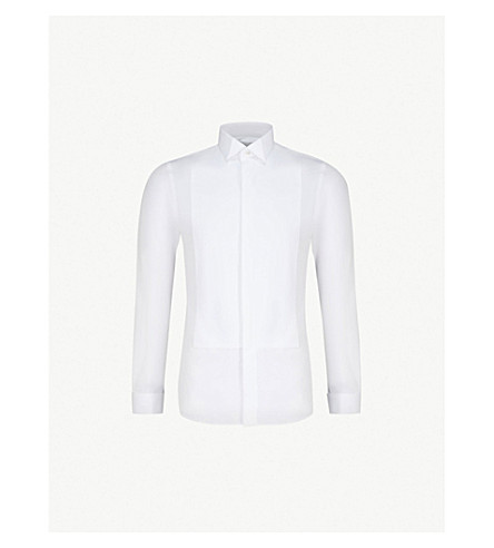 SMYTH & GIBSON Slim-fit double-cuff cotton evening shirt (White