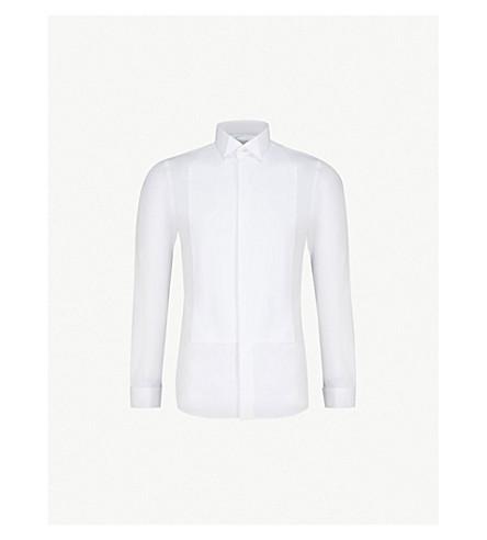 SMYTH & GIBSON 修身版型双袖棉晚衬衫 (白色