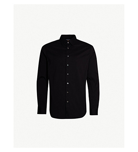 SMYTH & GIBSON Slim-fit penny square stretch-cotton shirt (Black
