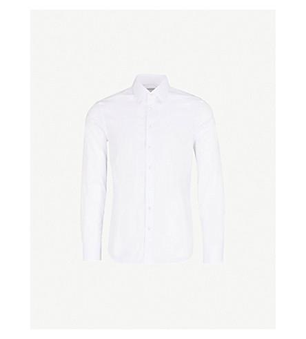 SMYTH & GIBSON Slim-fit penny square stretch-cotton shirt (White