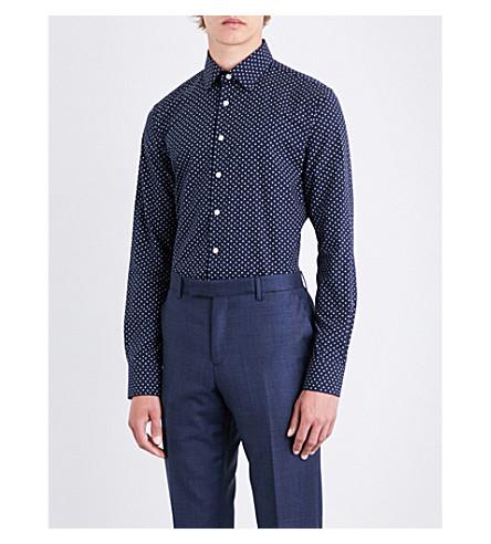 SMYTH & GIBSON Floral-patterned slim-fit cotton shirt (Black
