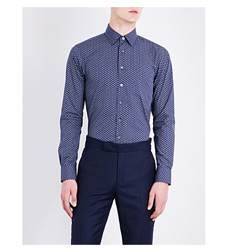 SMYTH & GIBSON Tulip-pattern slim-fit cotton shirt (Blue