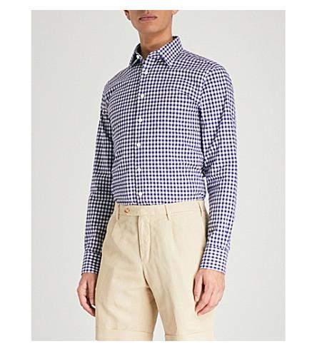 SMYTH & GIBSON Gingham slim-fit cotton-bouclé shirt (Navy