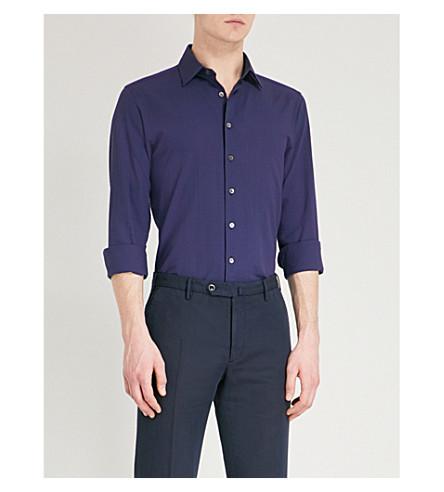 SMYTH & GIBSON Slim-fit cotton-seersucker shirt (Navy
