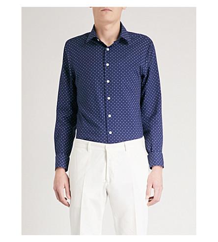 SMYTH & GIBSON Polka dot slim-fit cotton shirt (Navy