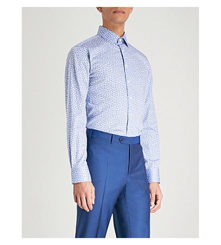 SMYTH & GIBSON Floral-print slim-fit cotton shirt (White/blue