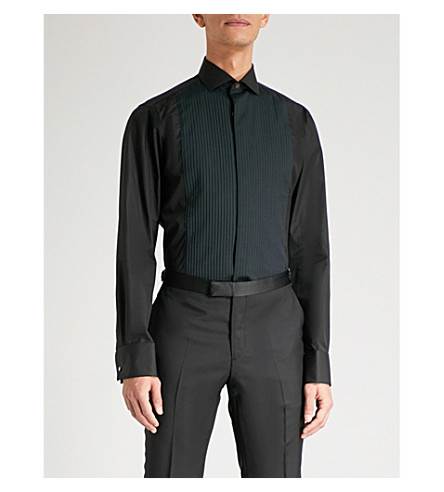 SMYTH & GIBSON Tailored-fit plisse-panelled cotton shirt (Black