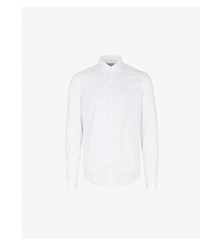 SMYTH & GIBSON Albany Cutaway tailored-fit cotton shirt (White