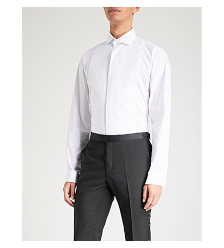 SMYTH & GIBSON Tailored-fit cotton-blend shirt (White