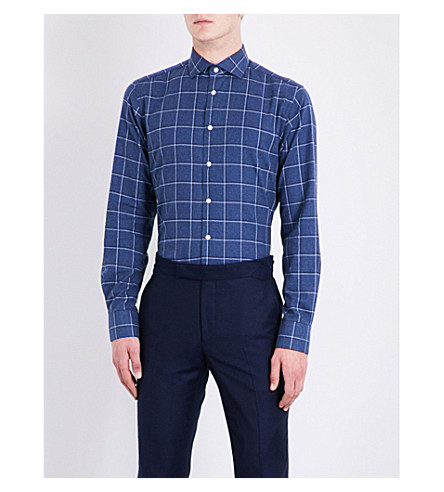 SMYTH & GIBSON Checked tailored-fit brushed-cotton shirt (Blue