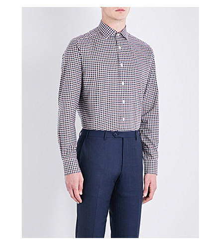 SMYTH & GIBSON Gingham tailored-fit cotton shirt (Borduex