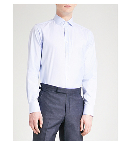 SMYTH & GIBSON Tailored-fit cotton shirt (Sky