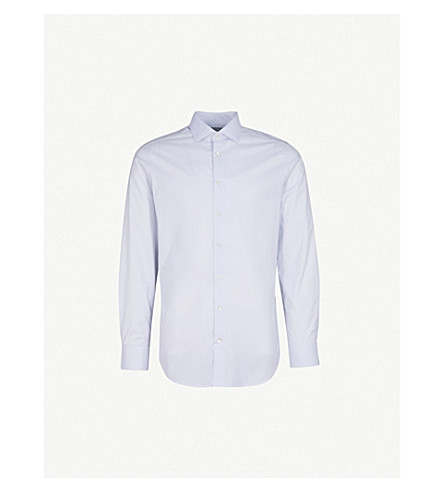 SMYTH & GIBSON Subtle checked tailored-fit cotton shirt (Grey