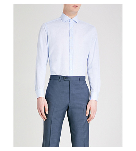 SMYTH & GIBSON Striped tailored-fit cotton shirt (Sky