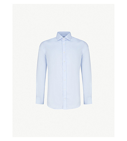 SMYTH & GIBSON Albany tailored-fit cotton Oxford shirt (Blue