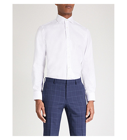 SMYTH & GIBSON Albany tailored-fit cotton Oxford shirt (White