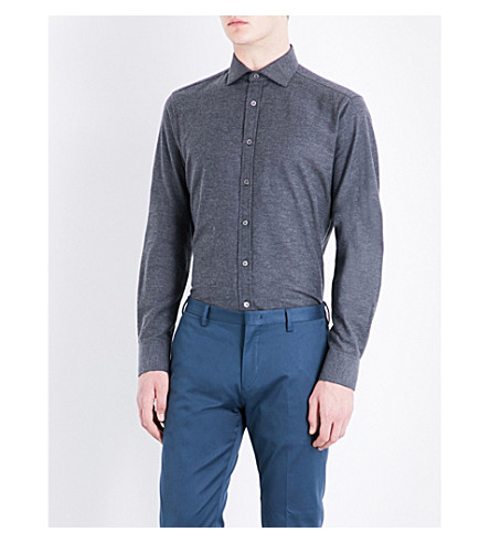 SMYTH & GIBSON Albany brushed cotton-twill shirt (Dk+grey