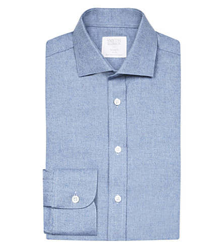 SMYTH & GIBSON Albany brushed cotton-twill shirt (Lt+blue