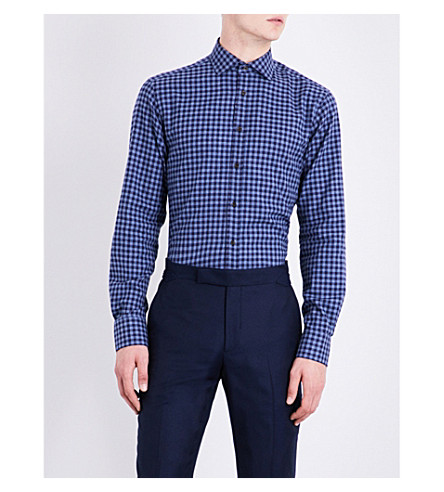 SMYTH & GIBSON Gingham tailored-fit brushed-cotton shirt (Navy