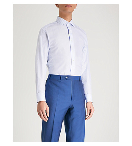 SMYTH & GIBSON Striped jacquard tailored-fit cotton shirt (Sky
