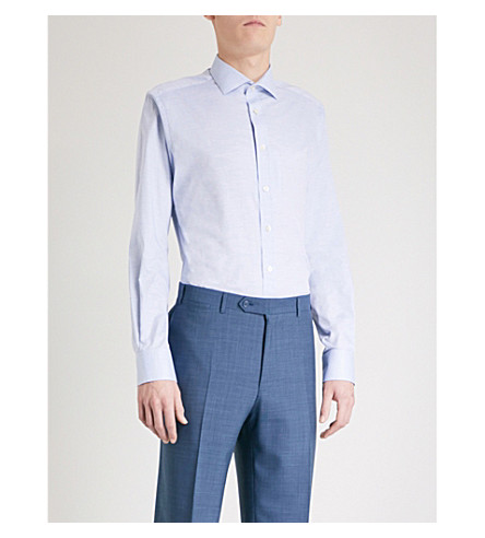 SMYTH & GIBSON Woven-texture tailored-fit cotton shirt (Light+blue