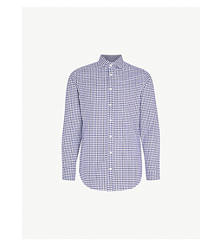SMYTH & GIBSON Gingham tailored-fit cotton Oxford shirt (Navy